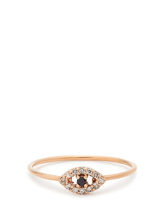 Diamond, sapphire & rose-gold ring