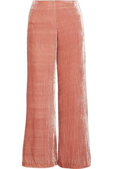 Margaux Crushed-velvet Wide-leg Pants