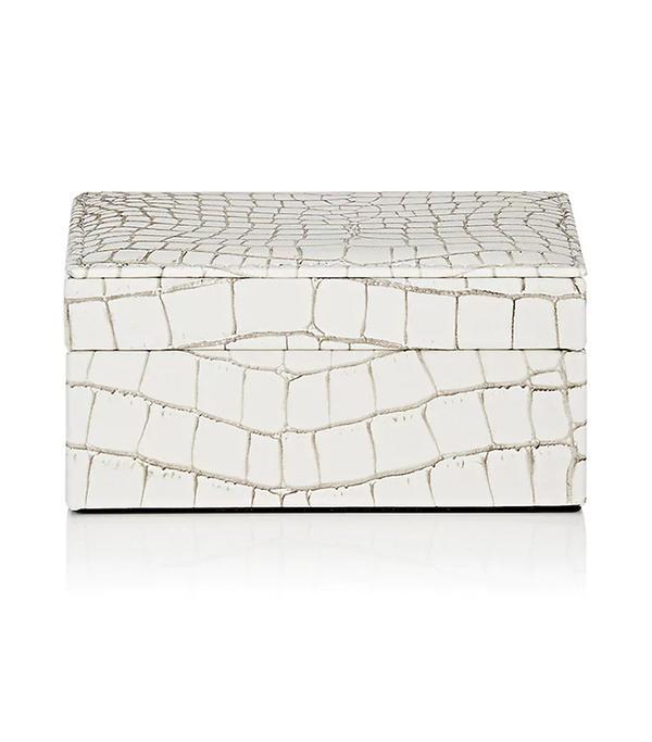 Crocodile-Embossed Leather Small Box