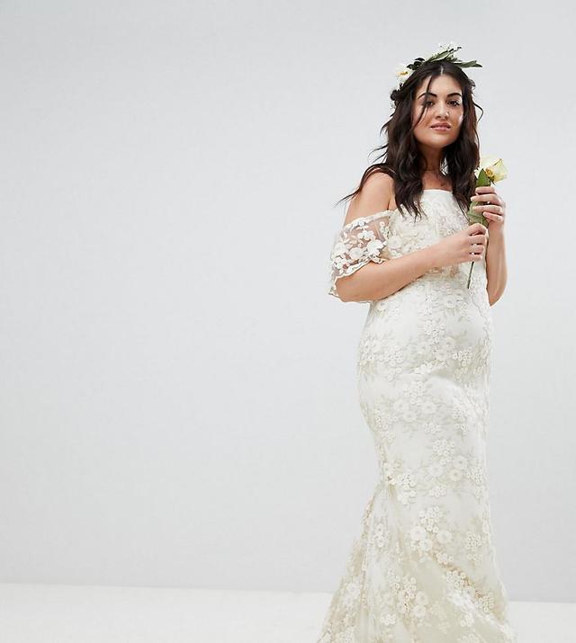 ASOS Curve Floral Lace Bandeau Maxi Wedding Dress