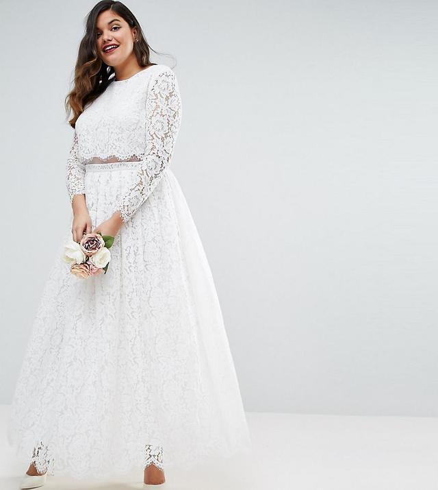 ASOS Curve Lace Long Sleeve Crop Top Maxi Dress