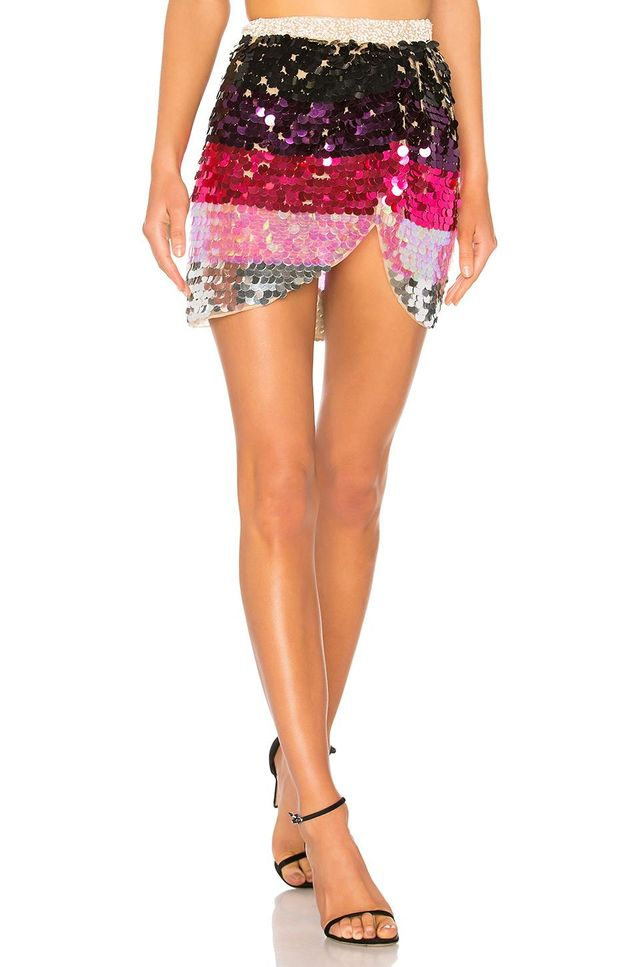 Payette Sequin Draped Mini Skirt