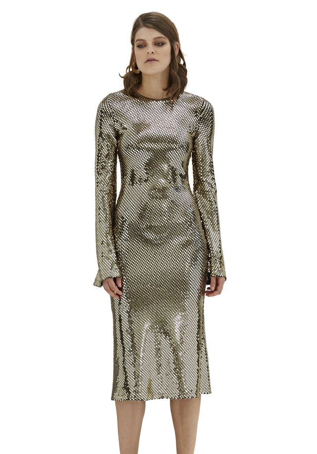 By Johnny Gold Reflections Bell Sleeve Dress