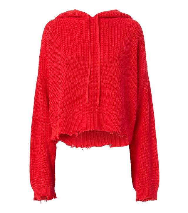 RtA Denim Marvin Cropped Hoodie in Coral