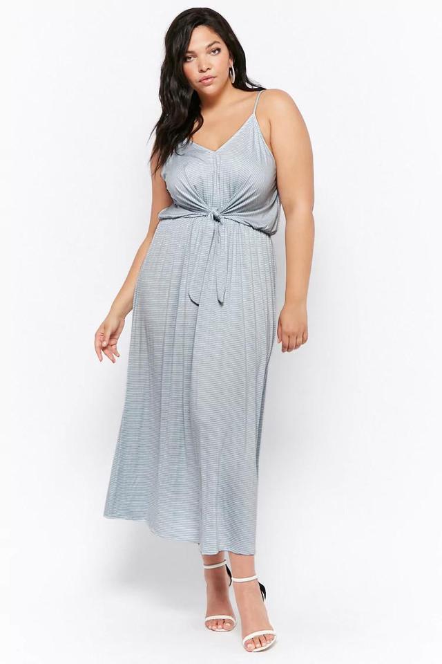 Striped Tie-Front Maxi Dress