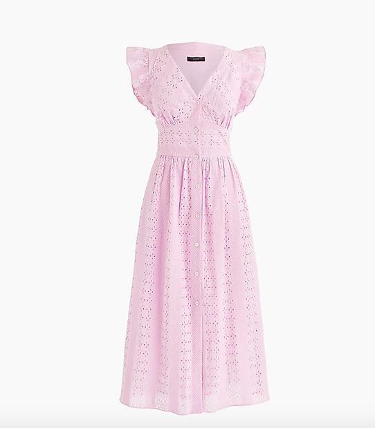 Ruffle-sleeve eyelet dress