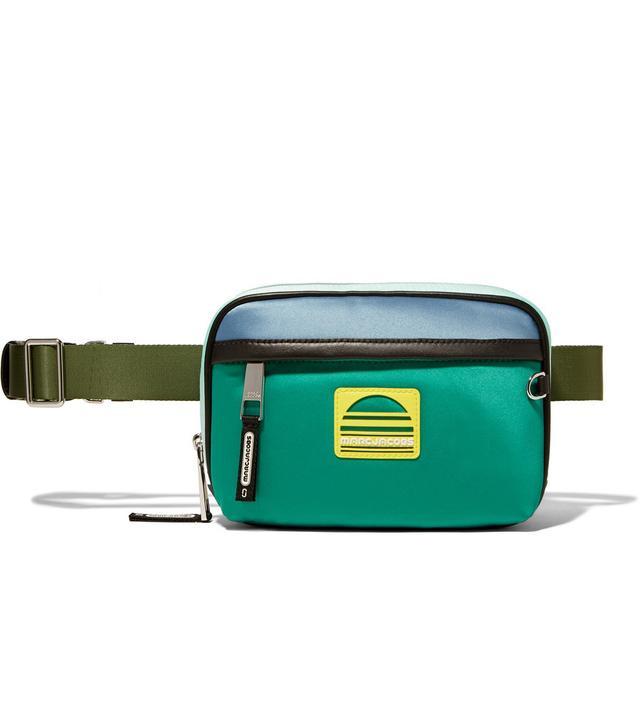 Sport Leather-trimmed Color-block Satin Belt Bag