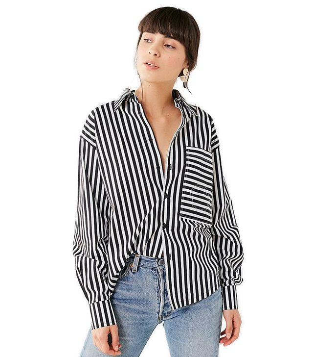 802 Striped Button-Down Top