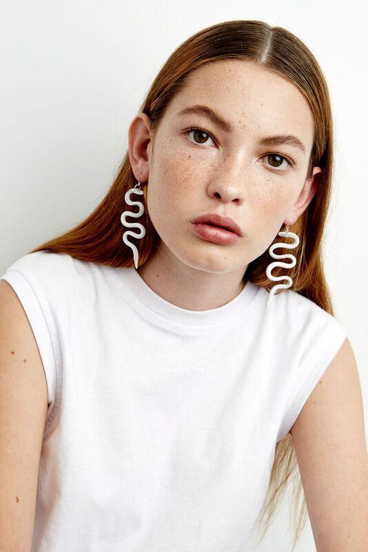 Mars Snake Earrings in Silver