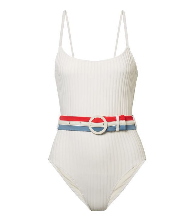 The Nina Belted Ribbed Stretch-Knit Swimsuit
