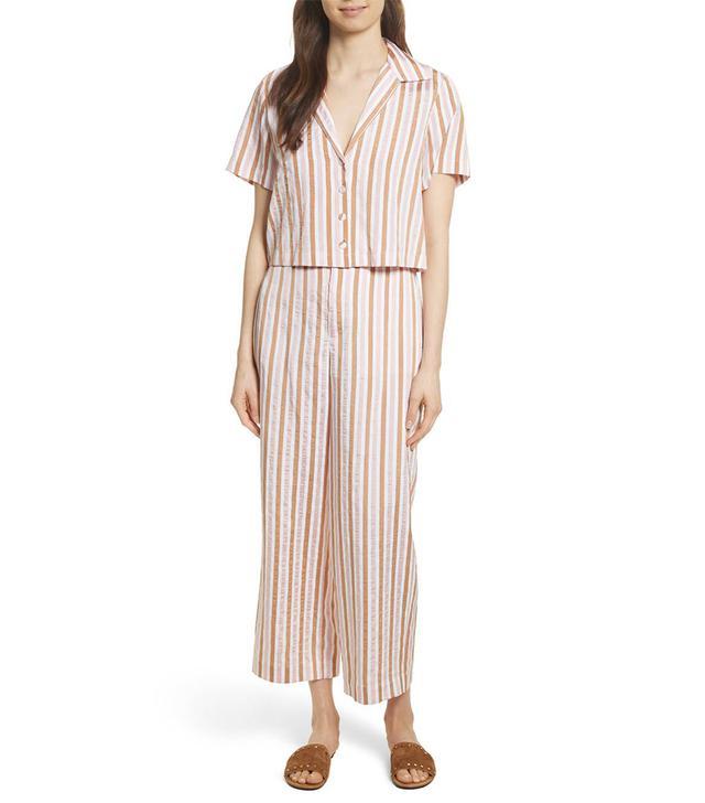 Women's Frame Stripe Mini Crop Shirt