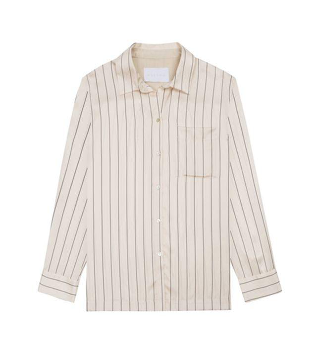 Journelle Sand Pinstripe Pyjama Top