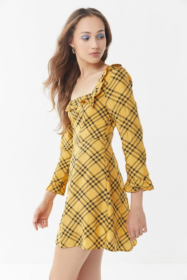 Urban Outfitters Kristen Plaid Ruffle Square-Neck Dress