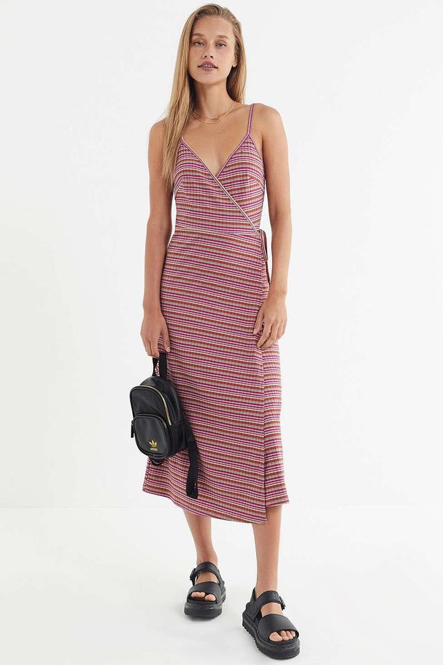UO Rainbow Striped Wrap Dress