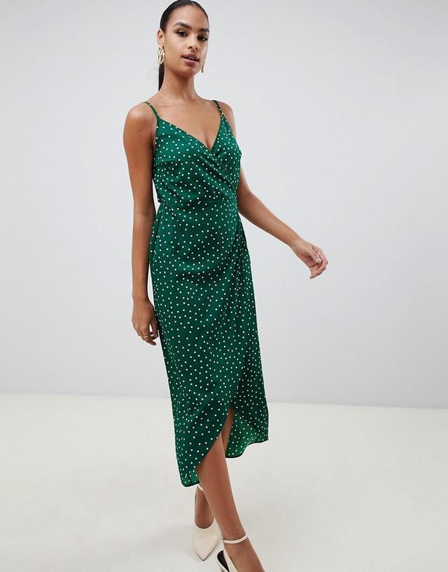 Cami Wrap Maxi Dress in Polka Dot