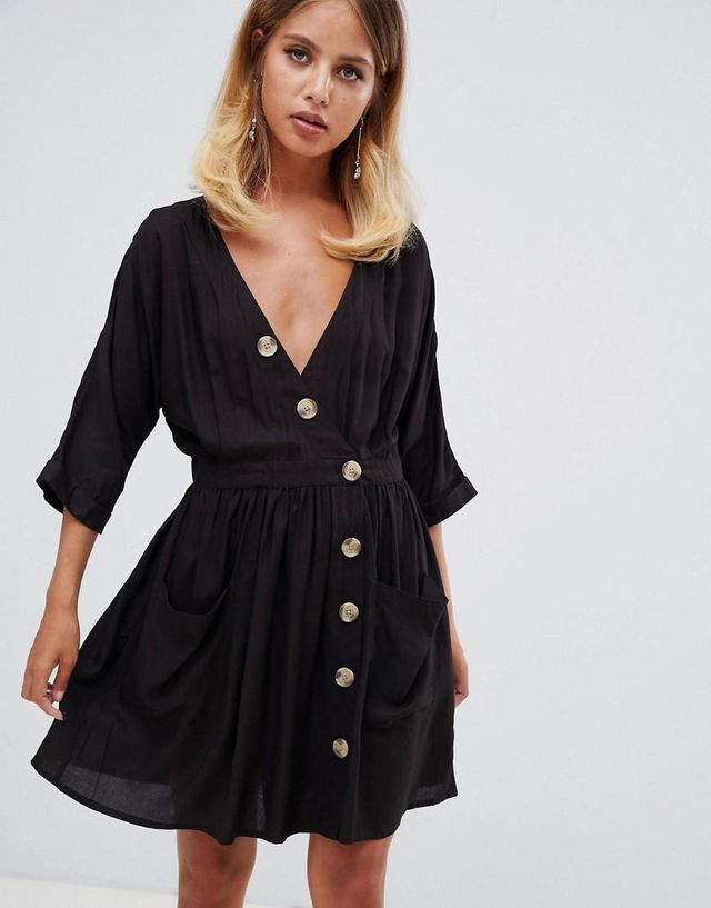 Casual Mini Dress With Pocket & Side Buttons
