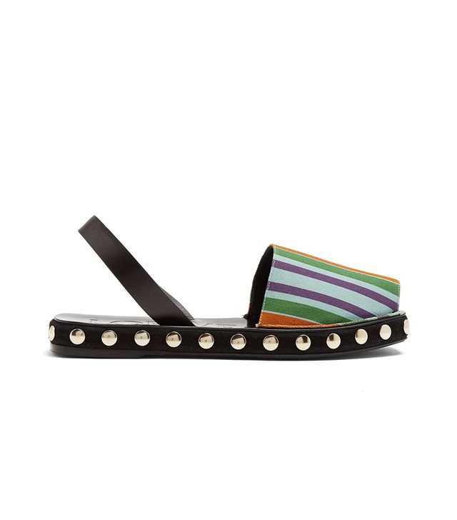 Striped canvas slingback sandals