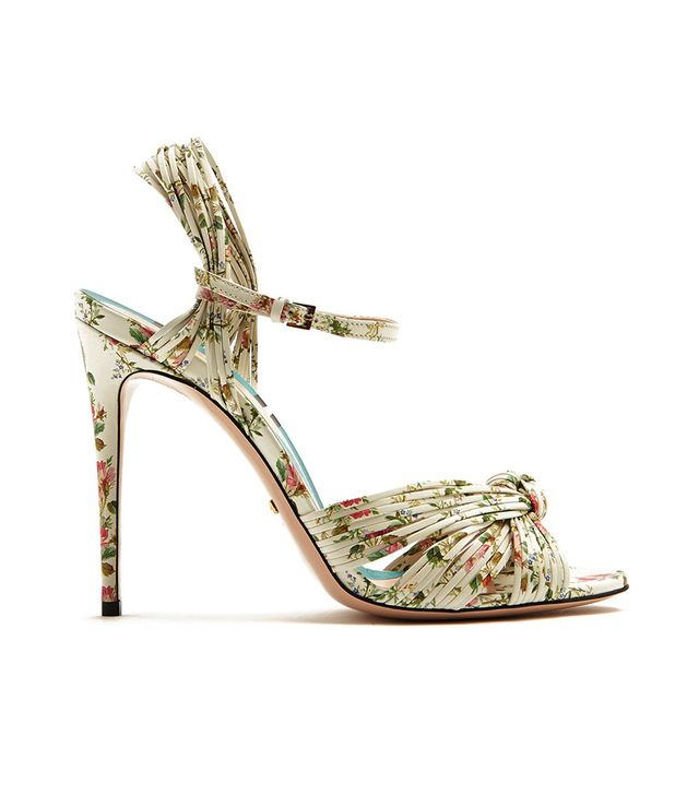Allie rose-print leather sandals