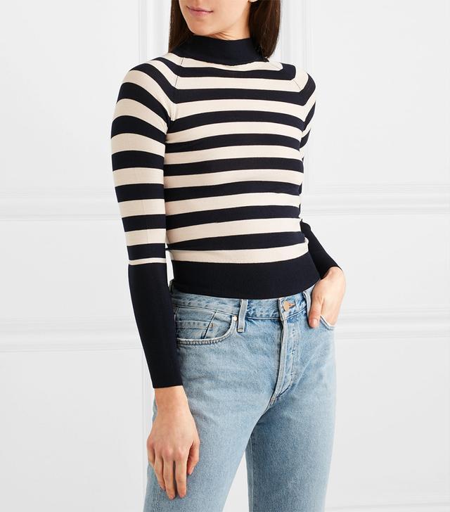 Ursula Striped Stretch-Merino Wool Sweater