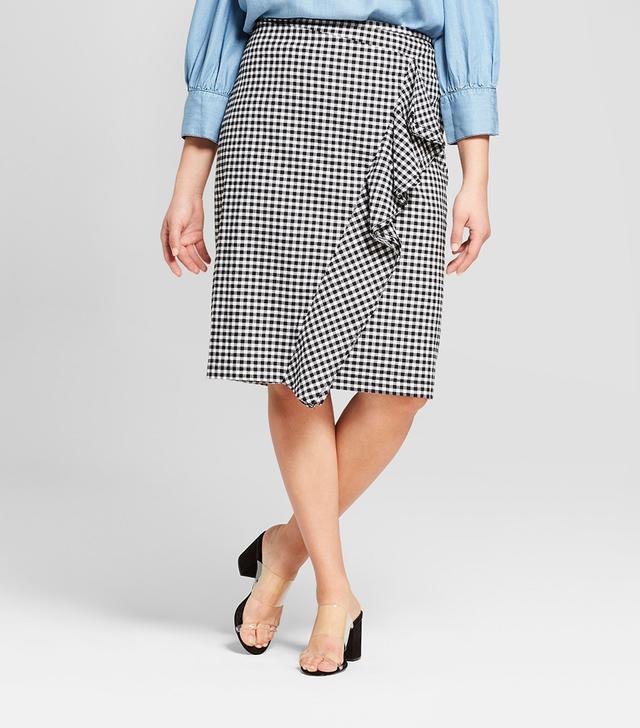Ruffle Pencil Midi Skirt