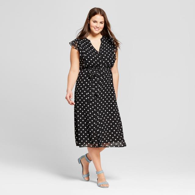 Who What Wear Ruffle Sleeve Midi Dress