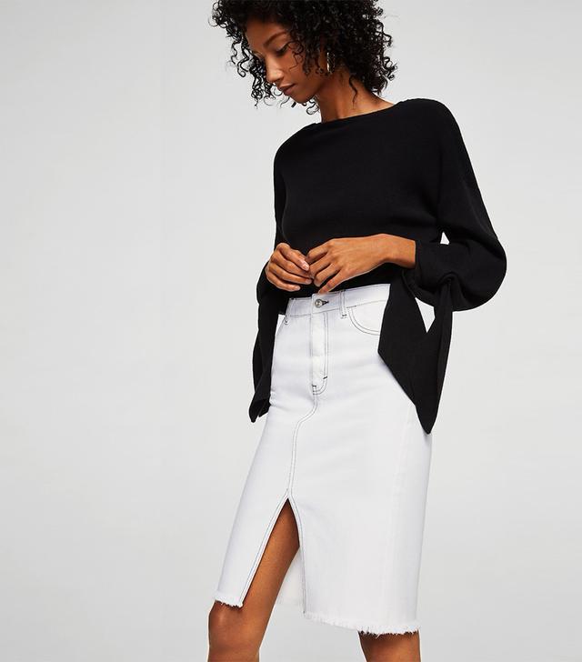 Mango Contrast Seams Denim Skirt