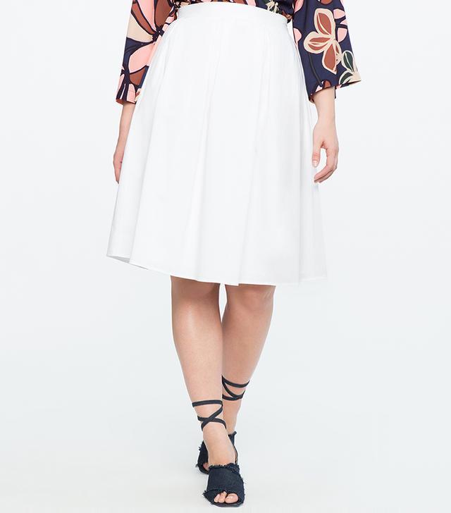 Eloquii Pleated A-Line Midi Skirt