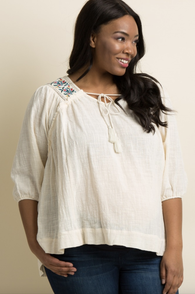 Pink Blush Ivory Embroidered Tassel Tie Maternity Blouse