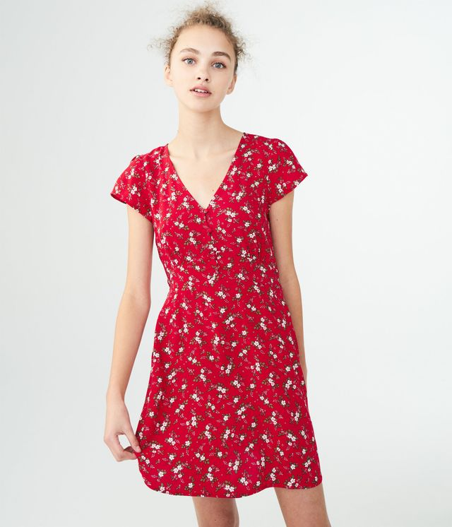 Aéropostale Floral V-Neck Shirt Dress