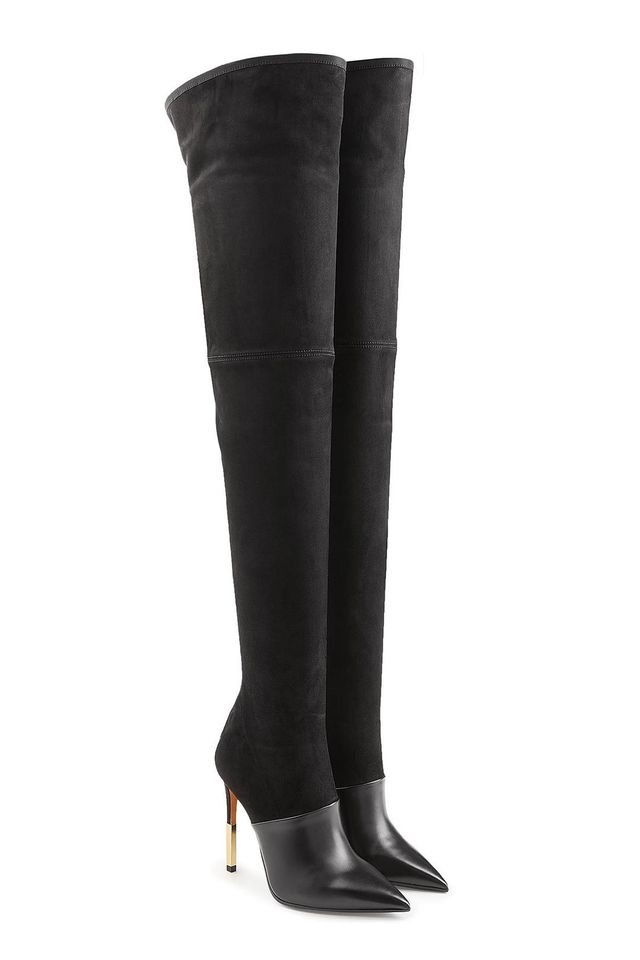 Thigh-high Stiletto Boots in Leather and Suede