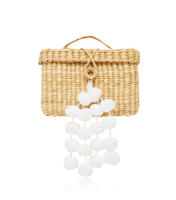 mothers day - Nannacay Baby Roge Pom Pom-Embellished Woven Raffia Tote