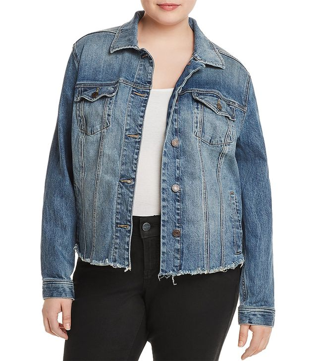 Lucky Brand Plus Frayed-Hem Denim Jacket