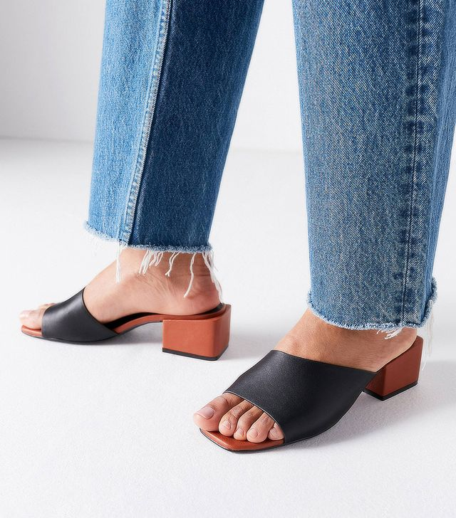 Intentionally Blank Roll Asymmetrical Mule Heels