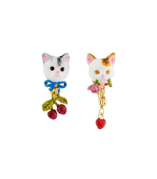 Les Néréides Loves Animals Cat's Faces Asymmetrical Clip Earrings