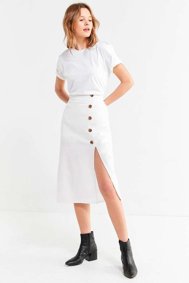 Button-Down Linen Midi Skirt