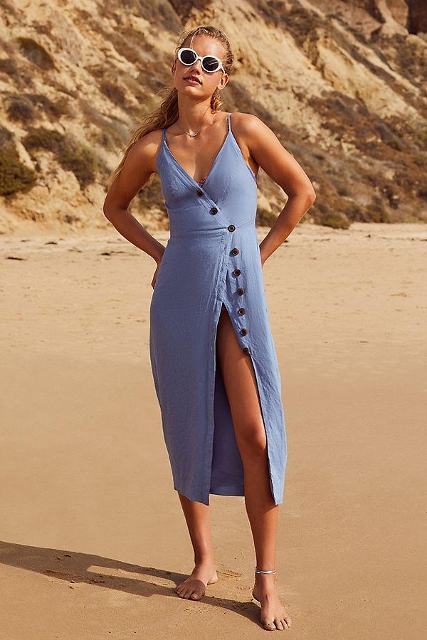 UO Amber Button-Down Linen Midi Dress