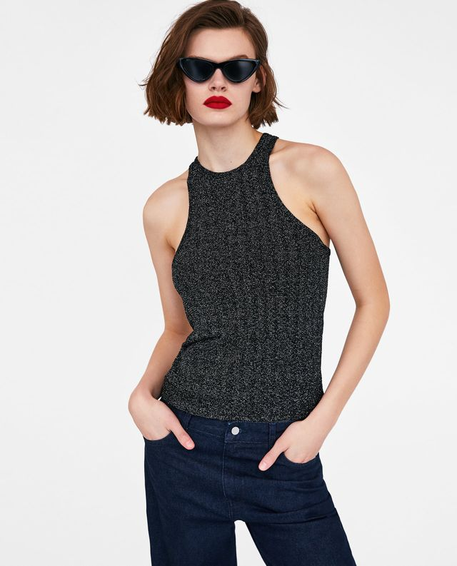 Zara Shimmery Halter Neck Top