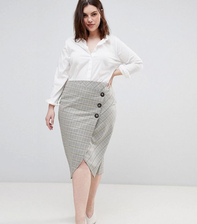 DESIGN Curve tailored midi skirt in check with button wrap detail