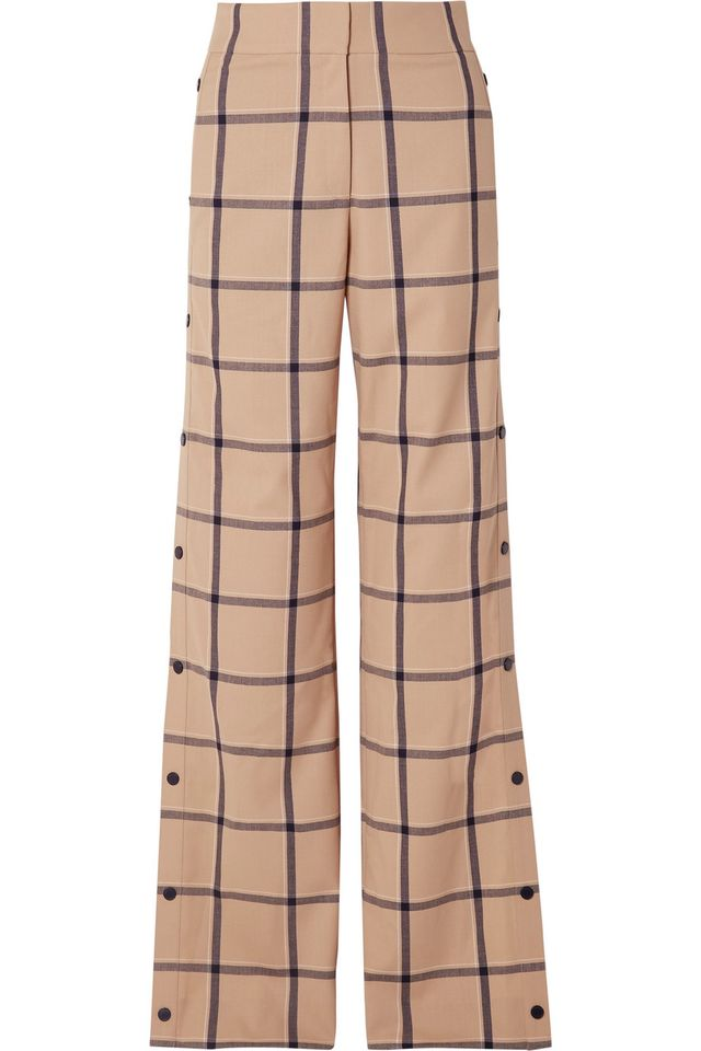 Louise Snap-fastening Checked Canvas Wide-leg Pants