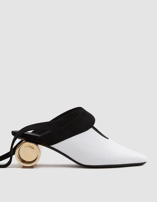 Cylinder Heel Ballet Shoe in White
