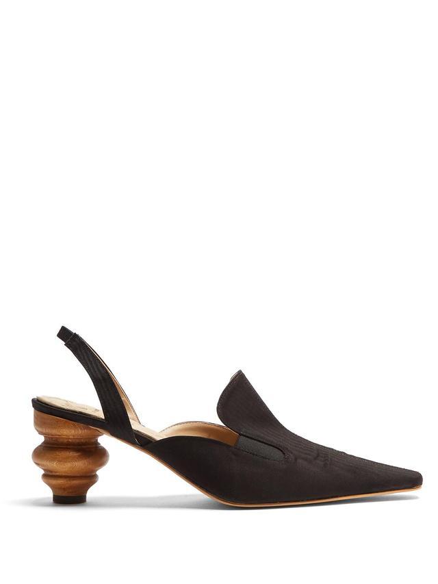 Rasin sculptured-heel slingback pumps
