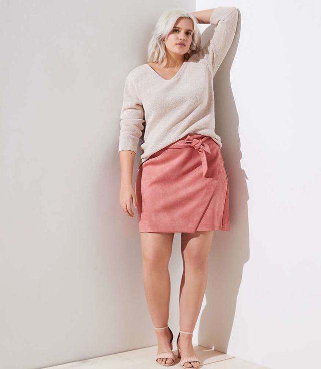 Loft Faux Suede Wrap Skirt