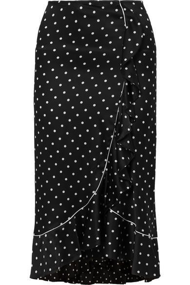 Dufort Ruffled Polka-dot Silk-blend Satin Skirt