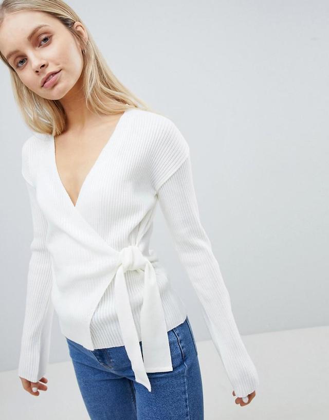 DESIGN wrap sweater in rib