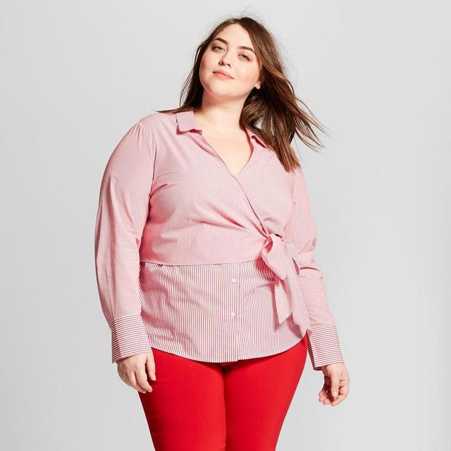 Plus Size Striped Long Sleeve Contrast Wrap Shirt