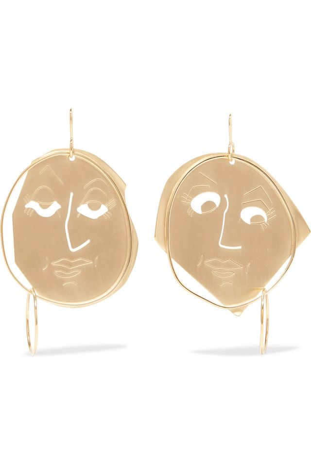 JW Anderson Moon Face Gold-Plated Earrings