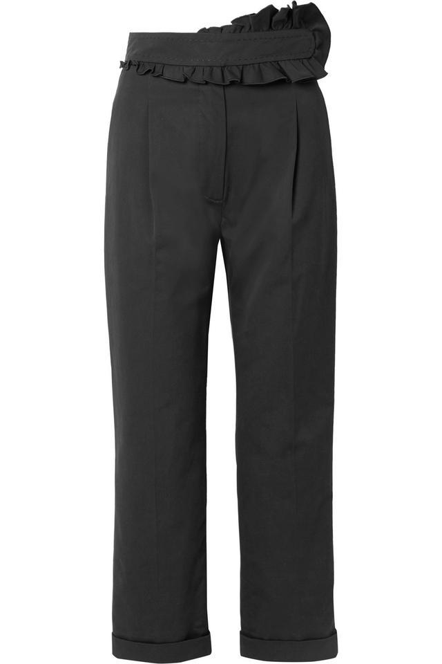 Carven Ruffled Cotton Straight-Leg Pants