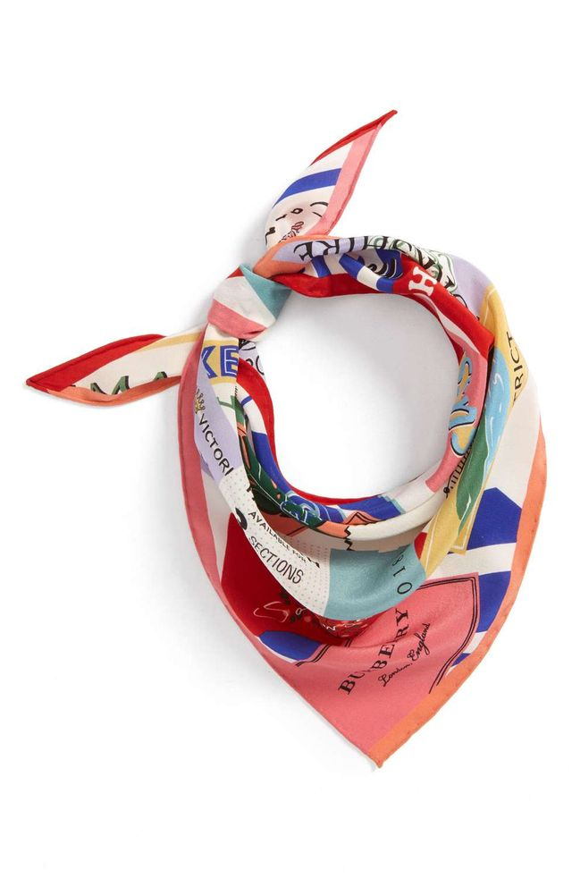 Ticket Silk Triangle Scarf
