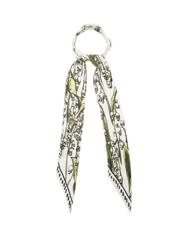 Skullflower-print silk scarf