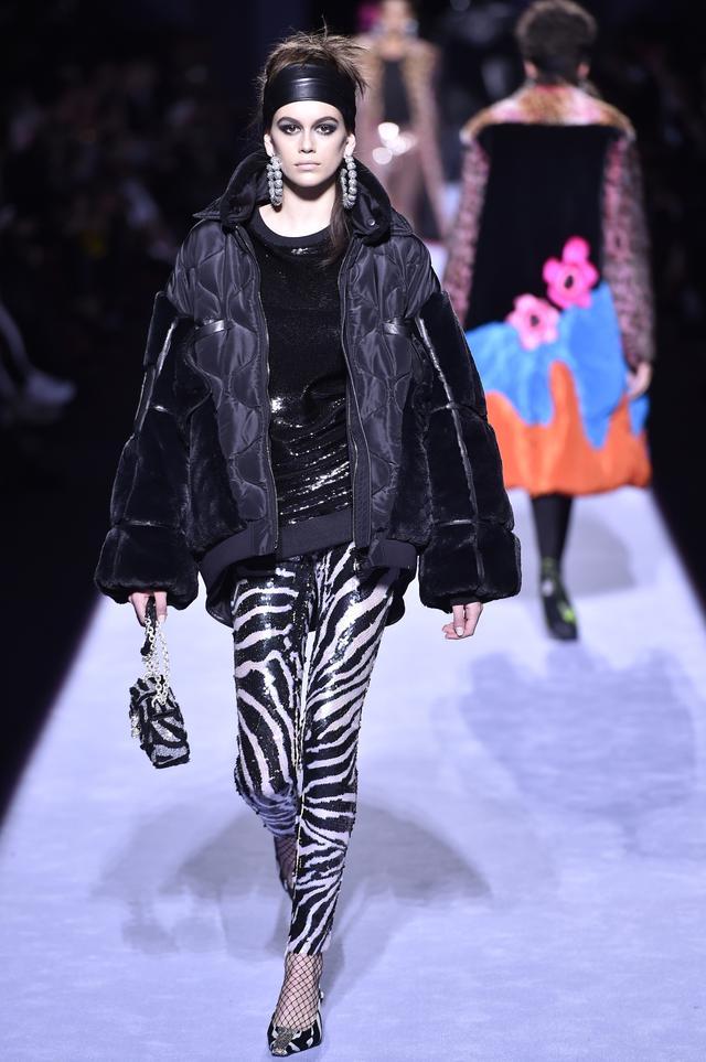 Tom Ford Fall 2018 zebra animal print Kaia Gerber